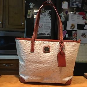 DB Ostrich Design Pearl Brown Leather Tote